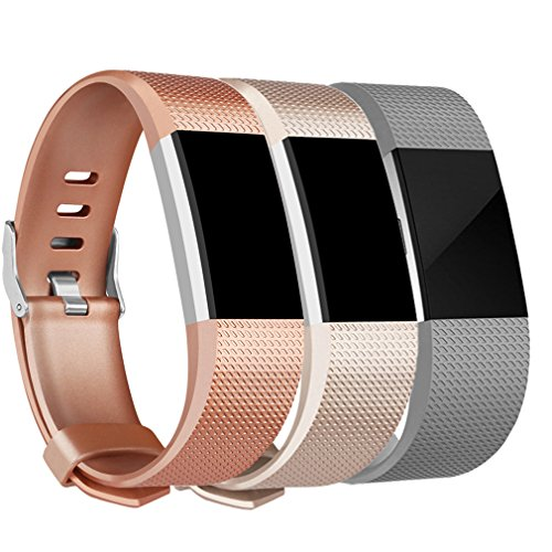 Amzpas Fitbit Charge 2 Bands, Small Large Adjustable Replacement Accessory Wristbands Bracelet for Women & Men (#Classic:Bronze+Champagne+gray, - Grey Color Bronze