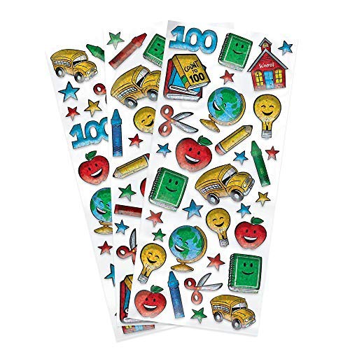(Amscan 100th Day of School Prismatic Party Stickers, 100)