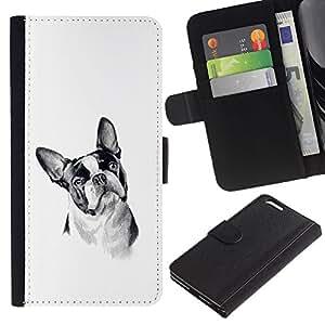 Caso Billetera de Cuero Titular de la tarjeta y la tarjeta de crédito de la bolsa Slot Carcasa Funda de Protección para Apple Iphone 6 PLUS 5.5 Boston Terrier Black White Art Dog / JU