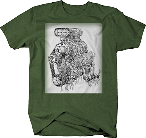 Big Block Garage Art V8 Supercharger Racing Motor Hotrod Tshirt - (V8 Motor Racing)
