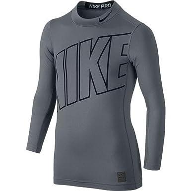 Nike Hyperwarm HBR Compression Mock Junior Training Shirt - Grey - L ... fdd73001b