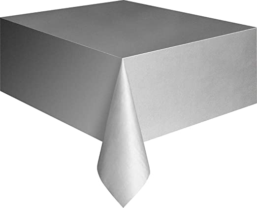 Rectangle Silver Plastic Table Cover