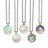 Bling Bling Vintage Pink Unicorn Pendant Necklace Glass Cabochon Pendant Inspired Necklace with Long Bronze Chain Handmade for Gifts 5pcs (Big Unicorn 2)