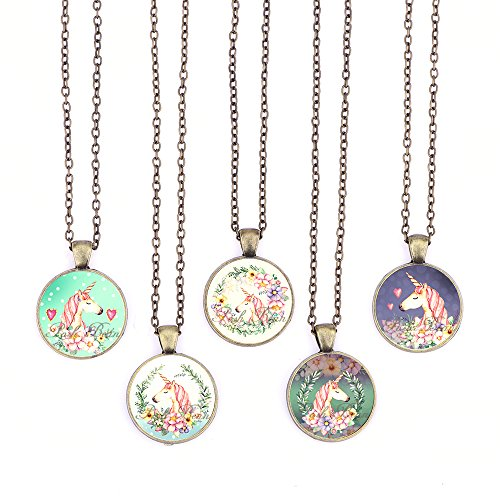 Bling Bling Vintage Pink Unicorn Pendant Necklace Glass Cabochon Pendant Inspired Necklace with Long Bronze Chain Handmade for Gifts 5pcs (Big Unicorn (Vintage Inspired Necklace Locket)