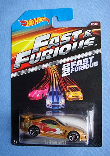 Hot Wheels Fast & furious Movie car Gold '94 toyota supra 02/08 2 fast 2 furious Rare (Toyota Supra Hot Wheels Fast And Furious)