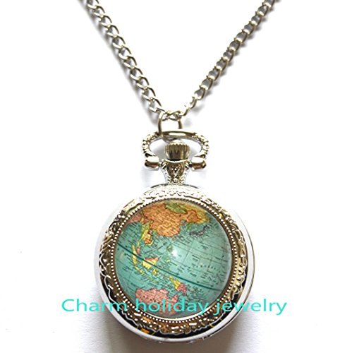 World Map Pocket Watch Necklace, Antique Map Necklace, Globe Necklace, Map Pocket Watch Necklace