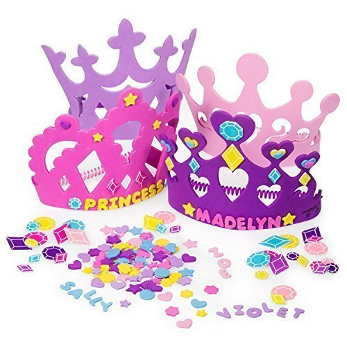 (2 Set of Princess Tiara Crown Craft Kits (Includes 24 Foam Tiaras + 800 Pc Princess Craft)