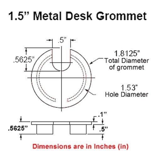 1.57'' (40mm) Metal Desk Grommet | Brushed Bronze (Smaller Opening) - (3 Pack)