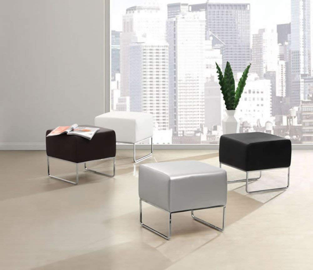 weight capacity; Dimensions 18W x 18H x 18.5D upholstered in leatherette that stands up to high traffic; Understated chromed steel tube legs; 150 lbs Zuo Modern 103007 Plush Ottoman in Espresso; Contemporary and compact