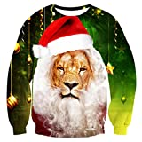 uideazone Teen Boys Girls Casual Ugly Christmas Shirt Printed Lion Face Pullover Sweatshirt Xmas Gift Lion Asia S= US XS