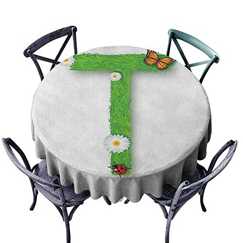 Mannwarehouse Letter T Fitted Tablecloth Caps T with Flourishing Fragrance Botanical Design and Ladybug Girls Room Easy Care D43 Green Multicolor