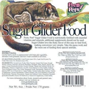 "SUGAR GLIDER FOOD 20 LB ""Ctg: EXOTIC ANIMALS - EXOTIC ANIMALS - DIETS"""
