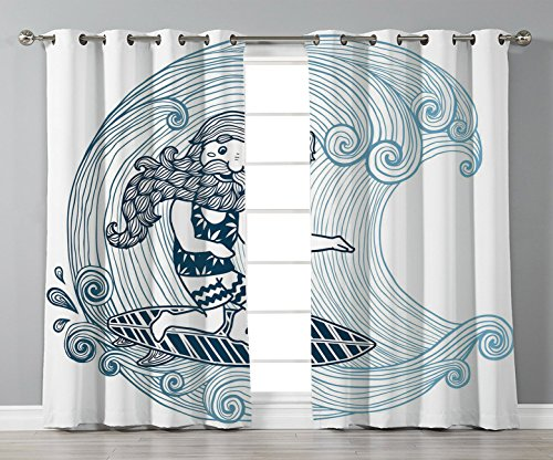 Satin Grommet Window Curtains,Wave,Doodle Surfer with Long Beard on Swirled Waves Surfboard Water Sports Decorative,Light Blue Dark Blue White,2 Panel Set Window Drapes,for Living Room Bedroom -