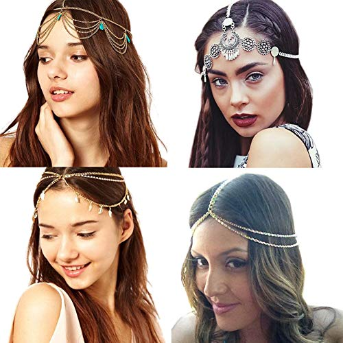 4 Pcs Gold Head Chain, Turquoise Tassel Hair Jewelry Prom Indian Bridal Wedding Gypsy Head Hair Chain Boho Headbands]()