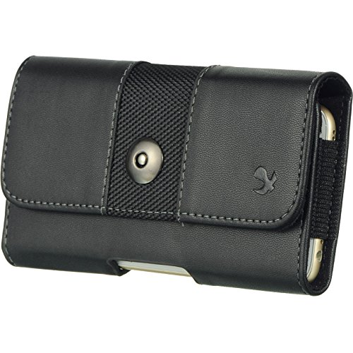 Galaxy S7 EDGE , GALAXY S6 EDGE PLUS , NOTE 5 , NOTE 4 , NOTE 3 , NOTE 2 ~ EXTRA LARGE Horizontal Leather Pouch Carrying Case Holster with Belt Clip and Magnetic Closure - Black 2 tone-1 (Galaxy Note 2 Case Leather)