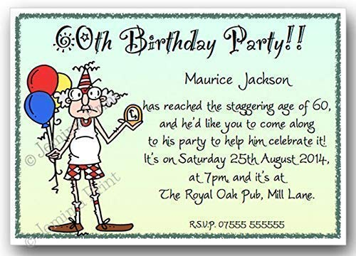 10 Personalised Birthday Party Invitations 30th 40th 50th 60th 65th 70th 80th 90th 100th Male Funny