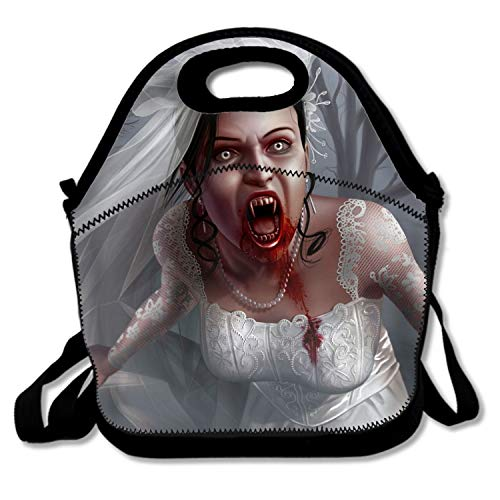 Dark Vampire Creepy Spooky Scary Halloween Bride Horror Blood Lunch Bag for Women and Kids,Reusable Soft Lunch Tote for Work and School -