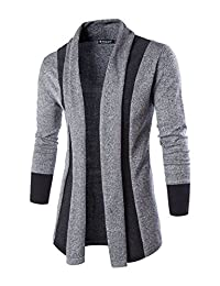 Allegra K Men Shawl Collar Contrast Color Long Sleeves Knit Cardigan Grey L