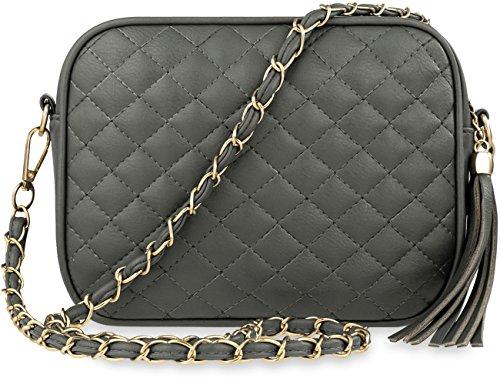 wunderschöne gesteppte Damentasche Schultertasche mit Fransen �?Anhänger und Kettenriemen grau
