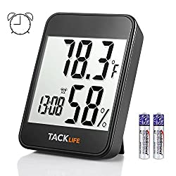 Hygrometer Thermometer, TACKLIFE Digital Indoor Temperature Humidity Gauge with Alarm Clock, MAX-MIN Mode, Current Time/Date Display - HM02