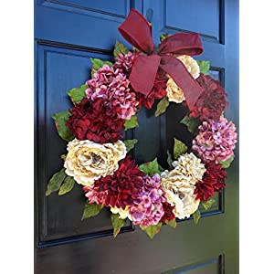 Large Spring Valentines Day Wreath for Front Door Decor; Faux Hydrangea, Dahlia and Peony Mix; Burgundy Red, Cream (Off-White) and Rose Pink; 24 Inch 2