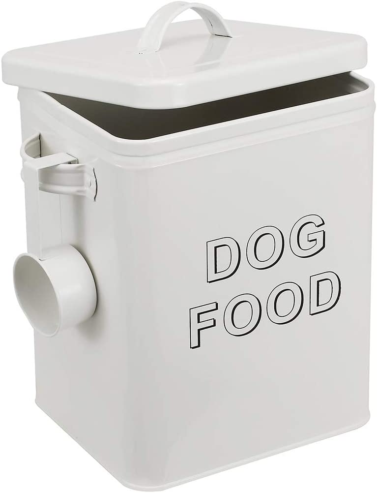 Pethiy airtight Dog Treat Container bin and Dog Food Storage Tin with Lid with Handle |4-5 lbs Capacity | Serving Scoop Included -White