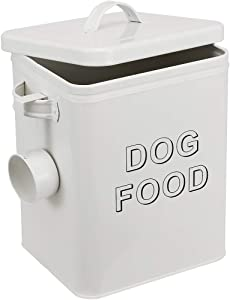 Morezi Dog Treat and Food Storage Tin with Lid and Serving Scoop Included - Cream Powder - Coated Carbon Steel - Tight Fitting Lids - Storage Canister Tins
