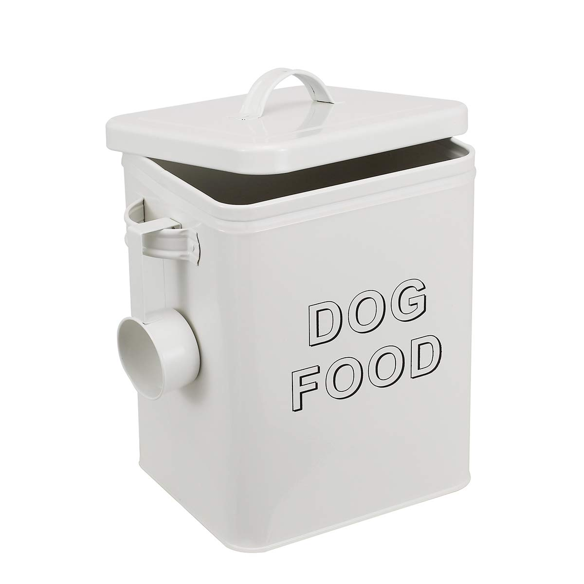 Morezi Dog Treat and Food Storage Tin with Lid and Serving Scoop Included - Cream Powder - Coated Carbon Steel - Tight Fitting Lids - Storage Canister Tins - Dog Food by Morezi