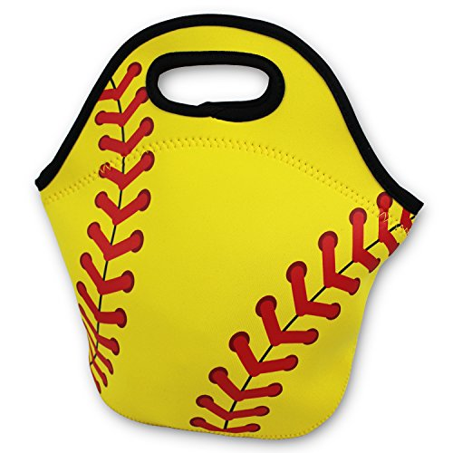 Softball Zipper Cooler Lunch Bag Insulated Gifts Washable Neoprene