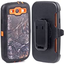 Huaxia Datacom Defender Military Hybrid Impact Case with Holster Belt Clip for Samsung Galaxy SIII S3 I9300 Fits Sprint L710, Verizon I535, At&t Wireless I747, T-mobile T999, U.s. Cellular R530 - Camoflage Branch on Orange Core