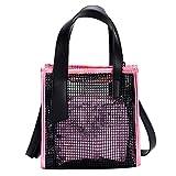WILLTOO Clearance Fashion Handbags, Female Bag Clear Skeleton Tote Crossbody Shoulder Bag for Women (Pink)