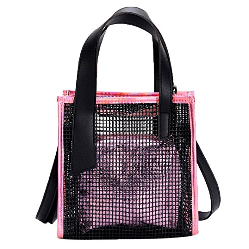 WILLTOO Clearance Fashion Handbags, Female Bag Clear Skeleton Tote Crossbody Shoulder Bag for Women (Pink) by WILLTOO