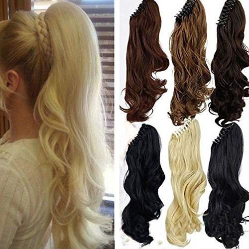 S-noilite Long Thick Claw Jaw Ponytail Big Wave Clip in Pony Tail Hair Extension Extensions (18 inches-curly, bleach blonde) -
