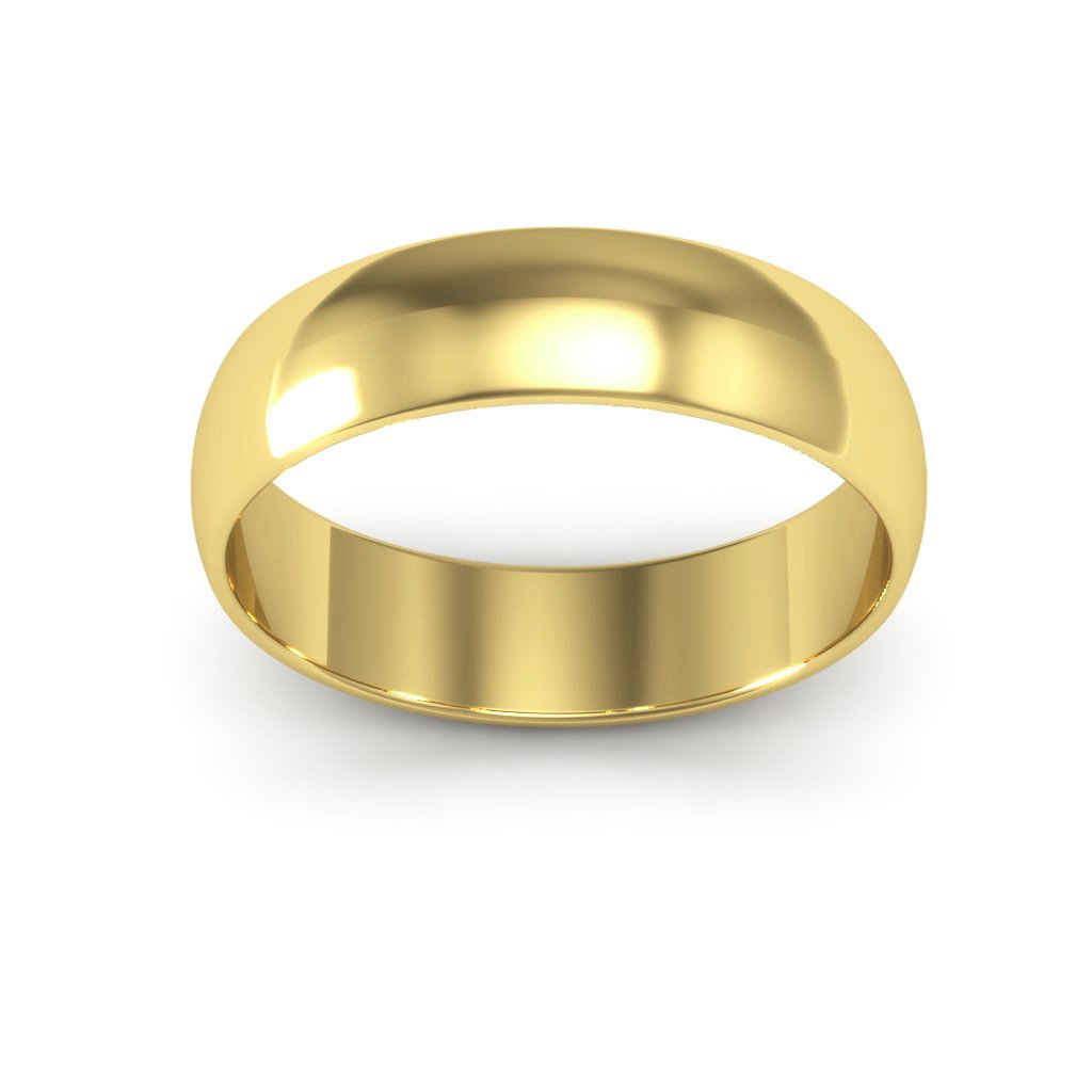 14K Yellow Gold men's and women's plain wedding bands 5mm light half round, 7.75 by i Wedding Band (Image #4)