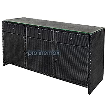 BLACK 3 Drawers Wicker Rattan Buffet Serving Cabinet Table Towel Dining  Dish China Storage Counter Outdoor