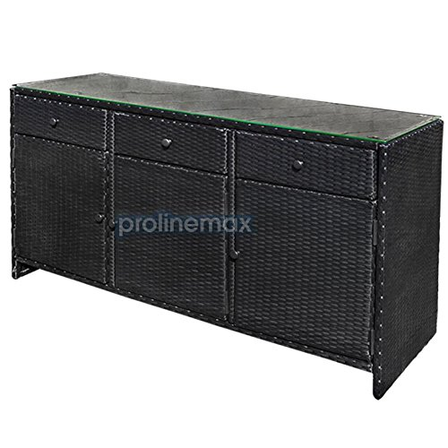 BLACK 3 Drawers Wicker Rattan Buffet Serving Cabinet Table Towel Dining Dish China Storage Counter Outdoor by ProlineMax