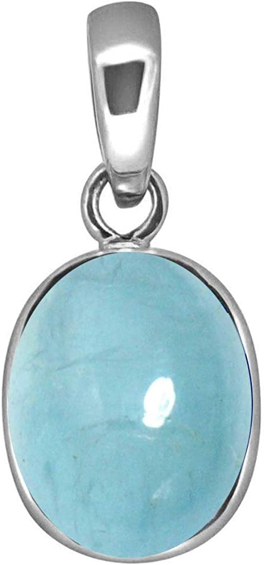 Colgante de aguamarina original de 3 quilates, forma ovalada, piedra azul de plata de ley con camafeo y piedra natal