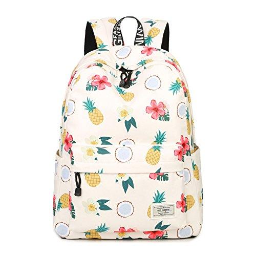 Comfortable Girl Waterproof Polyester Backpacks Cute Pineapple Printing Female Students Backpack Bag,A1,14 -
