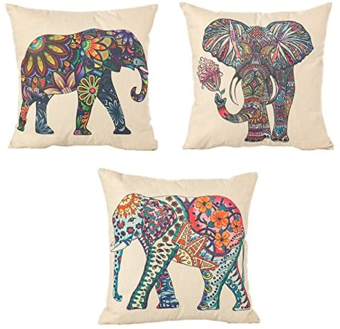 Amazon Com Digoon 3 Pack 18 X 18 Inch Square Linen Animal Printed Cute Elephant Throw Pillow Case Decorative Cushion Cover Pillowcase Cushion Case For Couch Sofa Bed Chair Auto Seat Colorful Home Kitchen