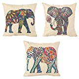 Carlie 3 Pack - 18 x 18 Inch Square Linen Animal Printed Cute Elephant Throw Pillow Case Decorative Cushion Cover Pillowcase Cushion Case for Sofa,Bed,Chair,Auto Seat (Colorful)