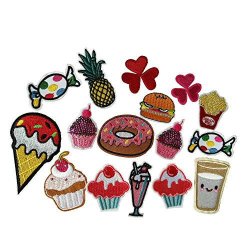 20 pcs/Applique DIY Embroidery Assorted Ice Cream Hamburger Doughnut Fabric Patches Sticker Cartoon Embroidered Badges For Iron On Sewing Kids Clothing (Color A) (Donut Patch)