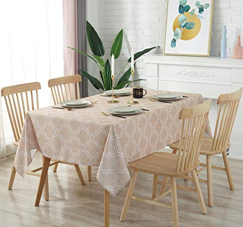 Aoohome 60 x 90 Inch Rectangle Polyester Table Cover, Water Repellent Spill-Proof Tablecloth Geometric Flora Pattern for Party, Machine Washable, Heavy Weight, Khaki