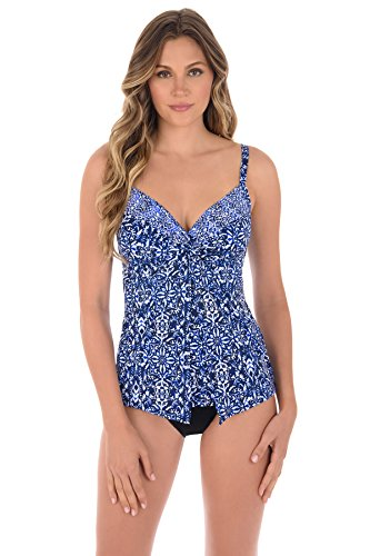 Miraclesuit Women's Majorca Love Knot Underwire Tankini Top Blue 10 by Miraclesuit