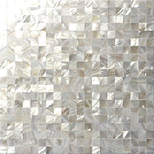 MEGARON Mosaic Mother of Pearl Oyster White Mini Square 12