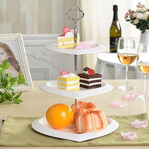 MiniInTheBox Modern Afternoon Tea. Fruit. Disc Plate Ceramic 3 Layers of Dried Fruit Cake Plate Tray Kitchen Ceramic Rack & Holder Organizer White