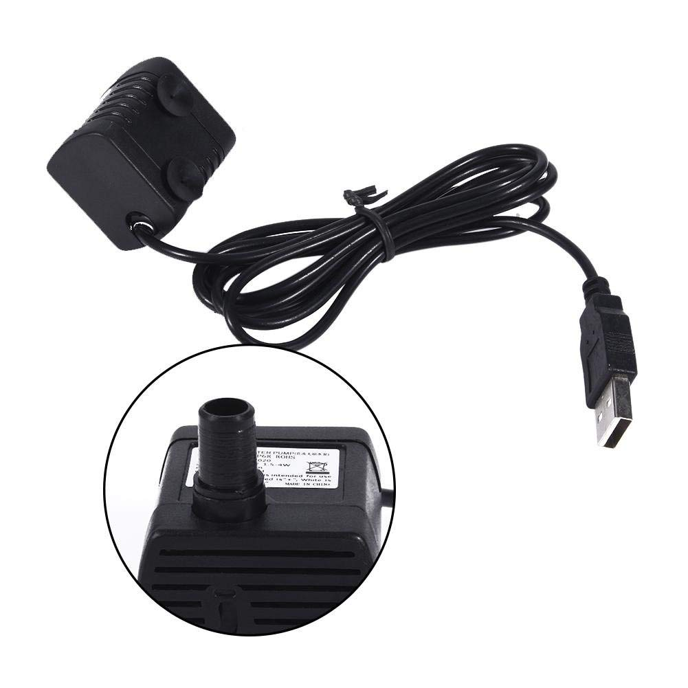 Fdit Brushless DC 6V 2W Micro Submersible Water Pump with USB Plug Solar Ultra-quiet Mini Brushless Computer Water Cooling Pump for Fountain Aquarium Circulating
