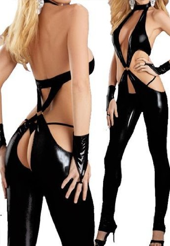 Angel&me Super Sexy Adult Black PVC Leather Like Dress Short Shirt Pk67black