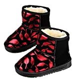 Cattior Toddler Little Kid Feather Pattern Fashion Waterproof Boots Kids Snow Boots Shoes (12.5 M, Red)