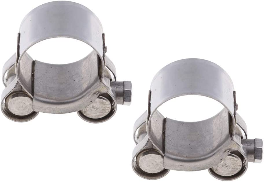 Baosity 2Pcs Universal 26-28mm Motorcycle Stainless Steel Exhaust Pipe Clamp Clip