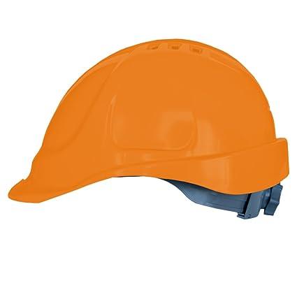 Casco de protección con cinta de sujeción, tamaño ajustable, EN397, color naranja